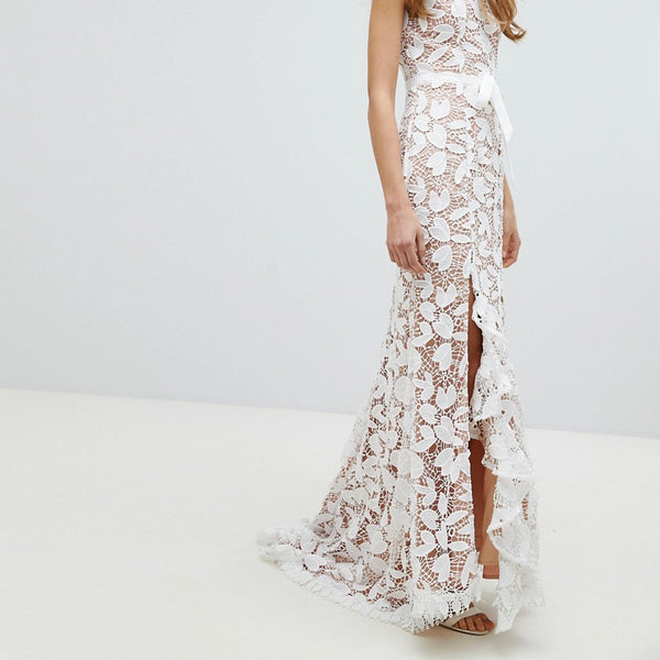 Jarlo All Over Cutwork Lace Maxi Dress With Bow Detail Waist - White