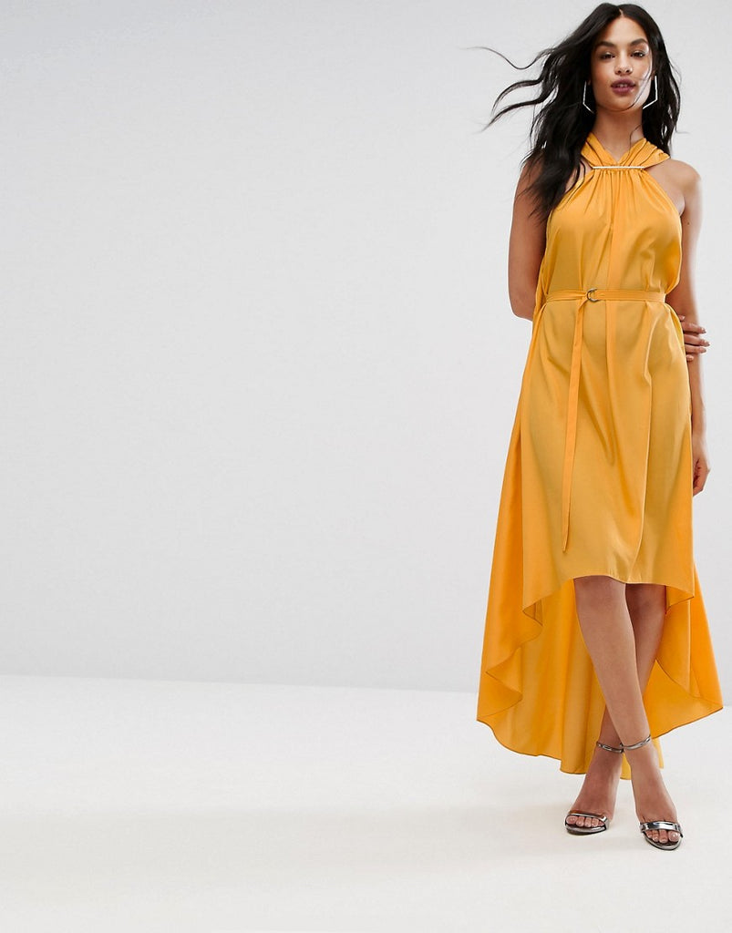 AQ/AQ Halterneck Maxi Dress With Hardware Detail - Saffron