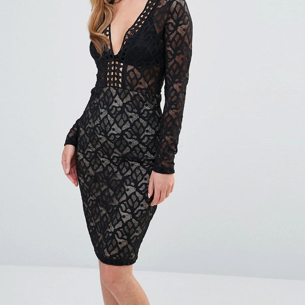 Dark Pink V Neck Midi Lace Dress with Long Sleeves - Black/nude