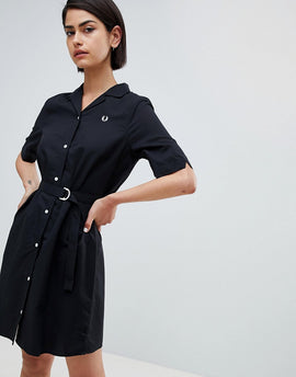 Fred Perry Belted Shirt Dress - Black