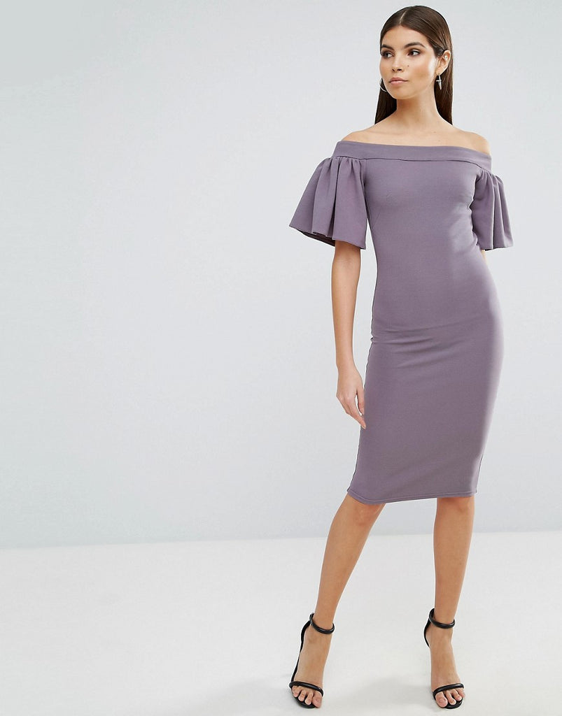 Oh My Love Midi Bardot Dress With Frill Sleeve - Grey