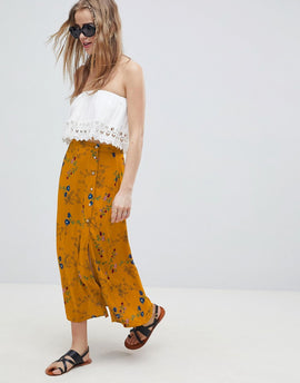 ASOS DESIGN midi skirt with side buttons in spring floral print - Multi