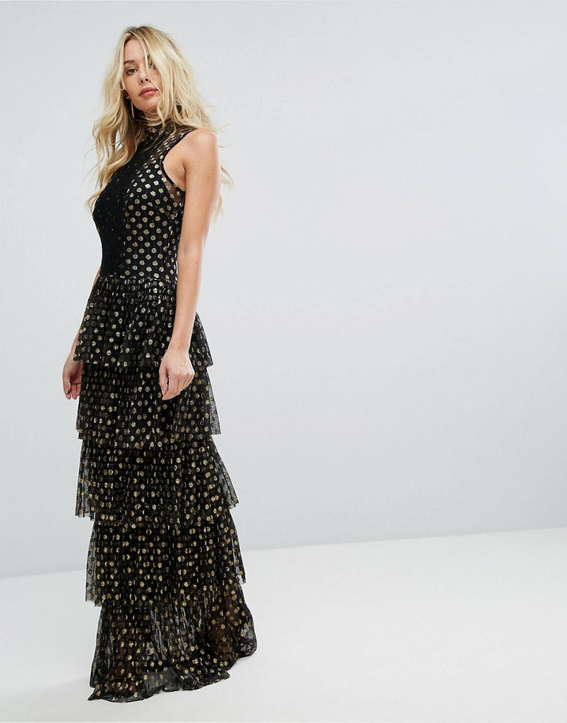 Bodyfrock Tiered Polka Dot Maxi Dress - Black