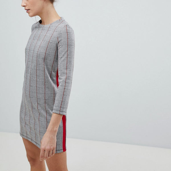 Pull&Bear Checked Jersey Dress - Grey