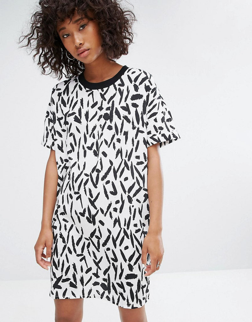 Noisy May Contrast Collar Print Dress - Multi