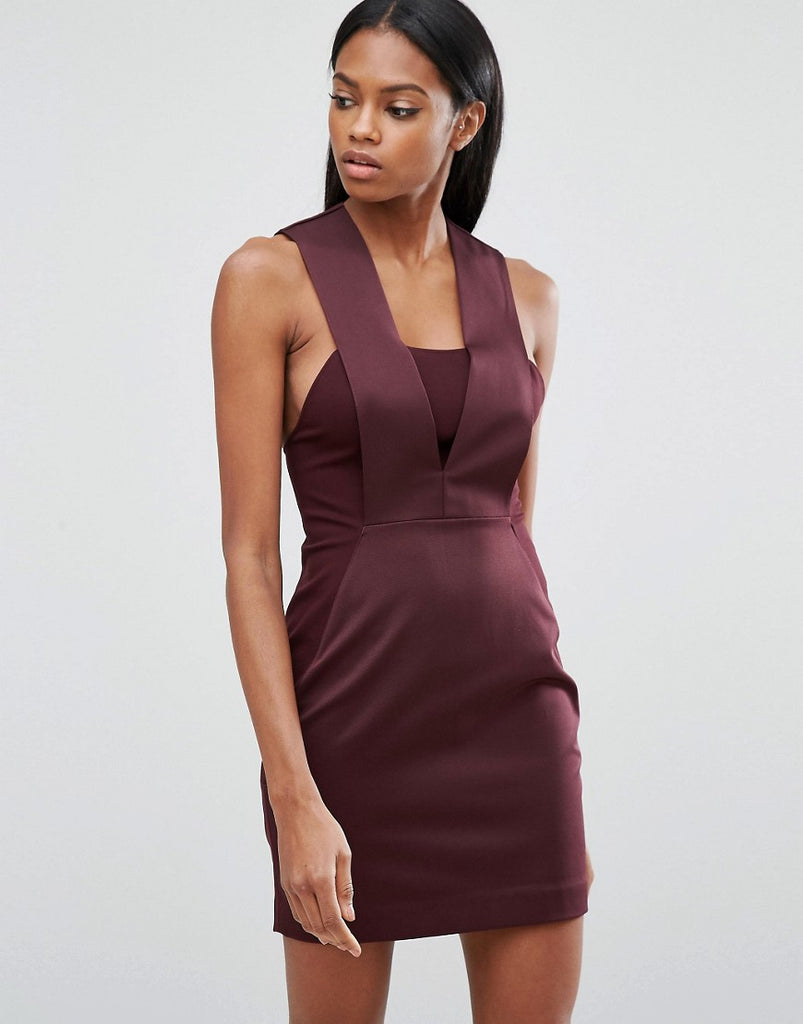 AQ/AQ Bodycon Mini Dress - Deep fig