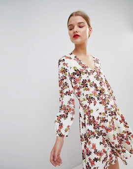 Essentiel Antwerp Flippy Dress in Floral Print - Citronella