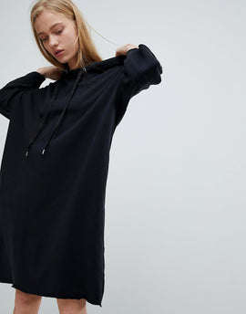 Dr Denim Jersey Dress with Hood - Black