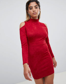 AX Paris Cold Shoulder Long Sleeve Bodycon Dress - Red