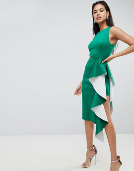 ASOS DESIGN two tone scuba ruffle front midi bodycon dress - Green