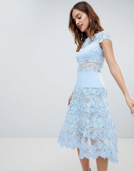 Bronx & Banco Applique Midi Sky Dress - Blue
