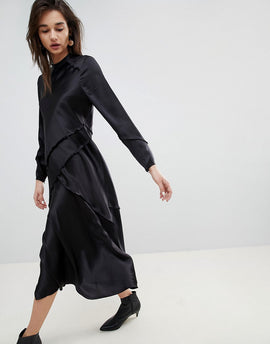 ASOS WHITE Long Sleeved Silk Dress - Black