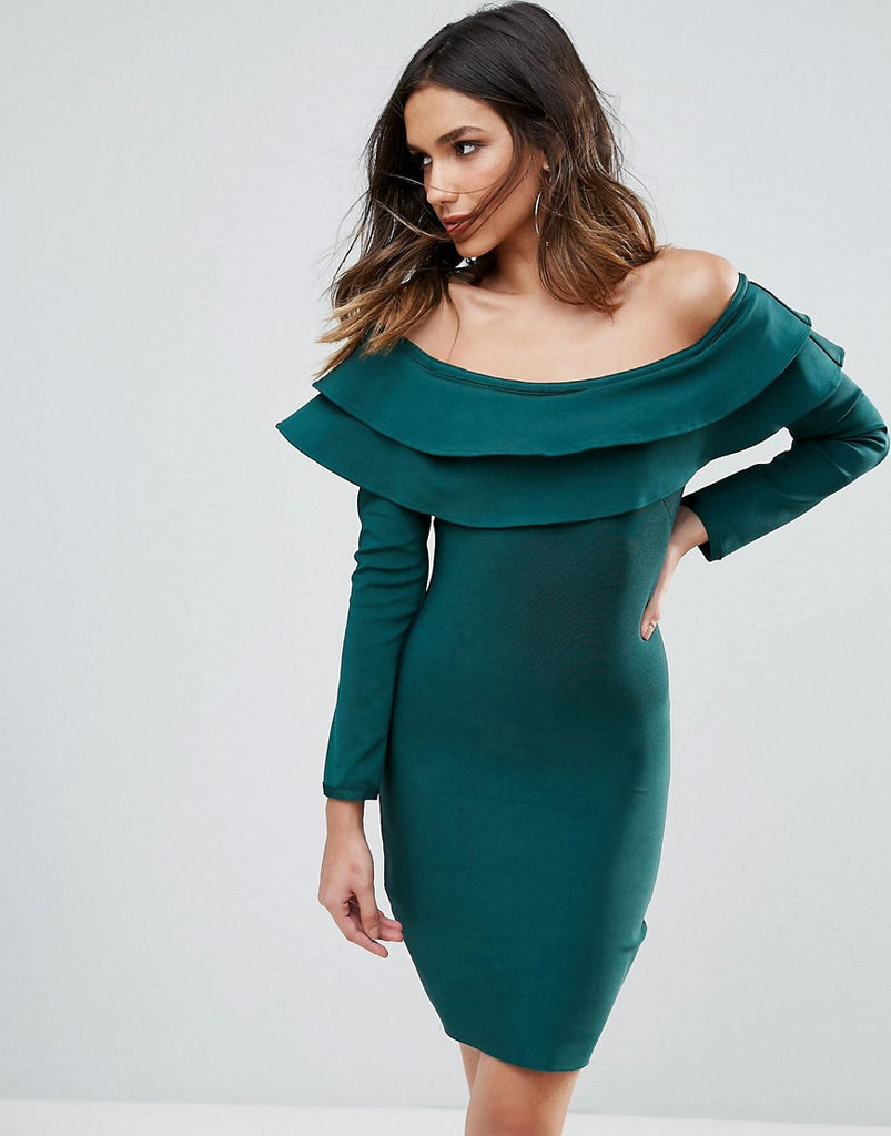 WOW Couture Exaggerated Frill Off Shoulder Mini Bandage Bodycon Dress - Emerald green
