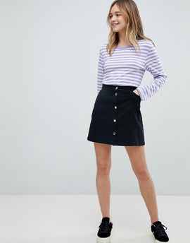 Monki Denim Button Through Skirt - Black