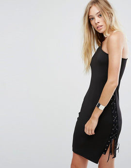 Glamorous One Shoulder Bodycon Dress With Lace Up Detail - Black