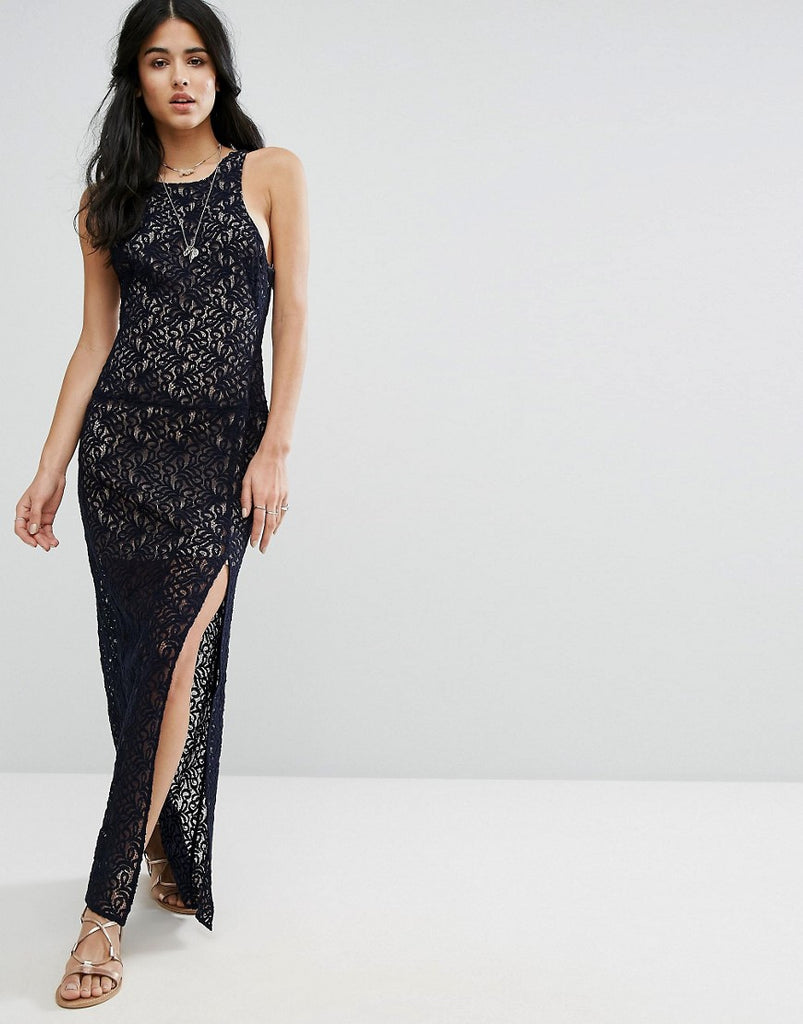 Free People Lace Column Maxi Party Dress - Deep indigo
