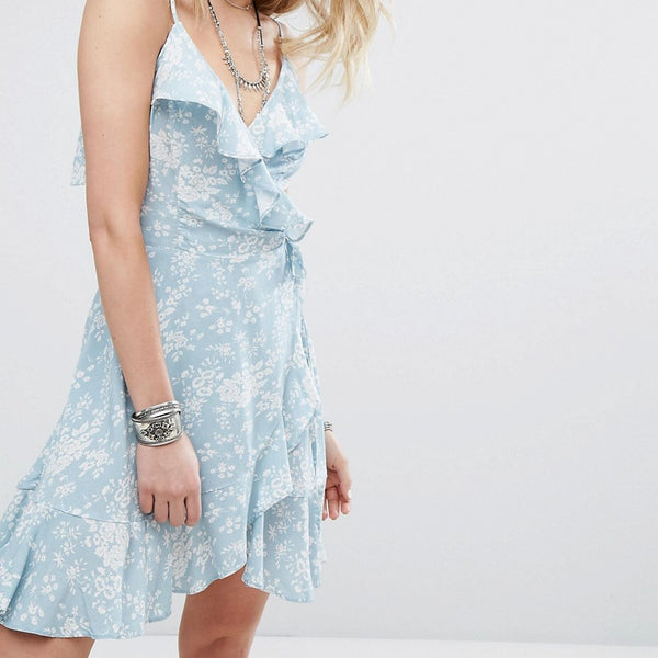Denim & Supply by Ralph Lauren Ruffle Wrap Front Dress with Floral print - Blue