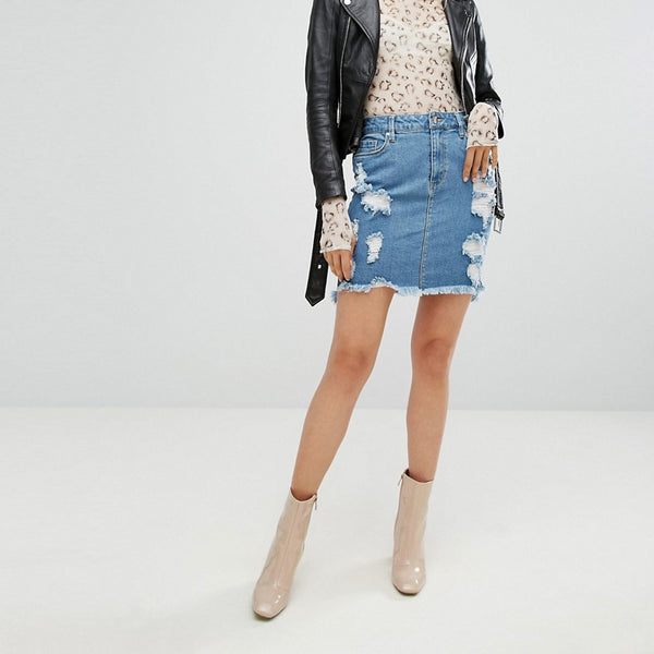 Arrive Denim Mini Skirt with Abrasions - Blue