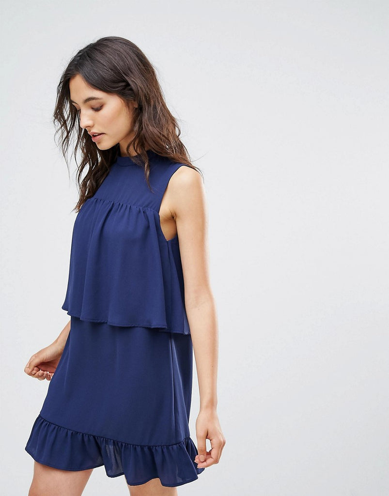 Rage Frilled Layer Dress - Navy crepe