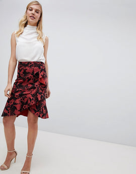Oasis Havana Printed Pencil Skirt - Red print
