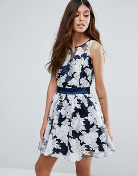 Zibi London Organza Floral Dress With Satin Sash - Blue
