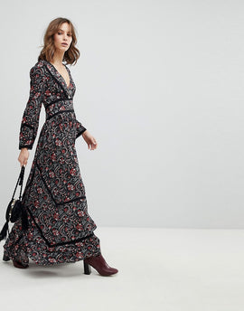 BA&SH Floral Bloom Smock Maxi Dress - Black