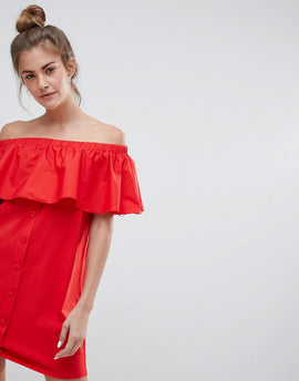 Pull&Bear off the shoulder bardot dress in red - Red