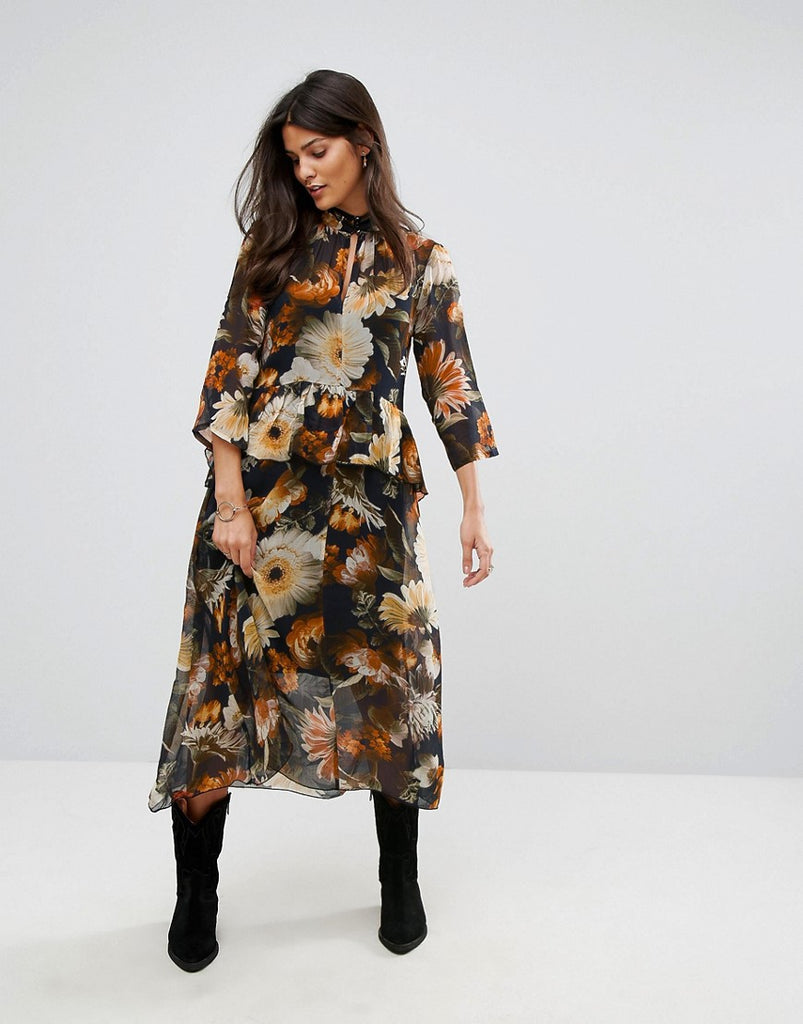 Gestuz Long Flower Print Dress - Multi black flower