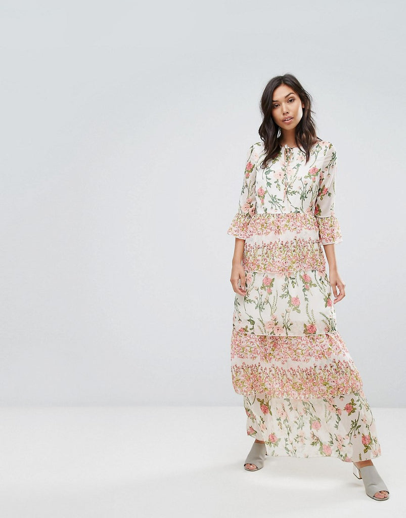 Vero Moda Maxi Floral Ruffle Dress - Almost mauve