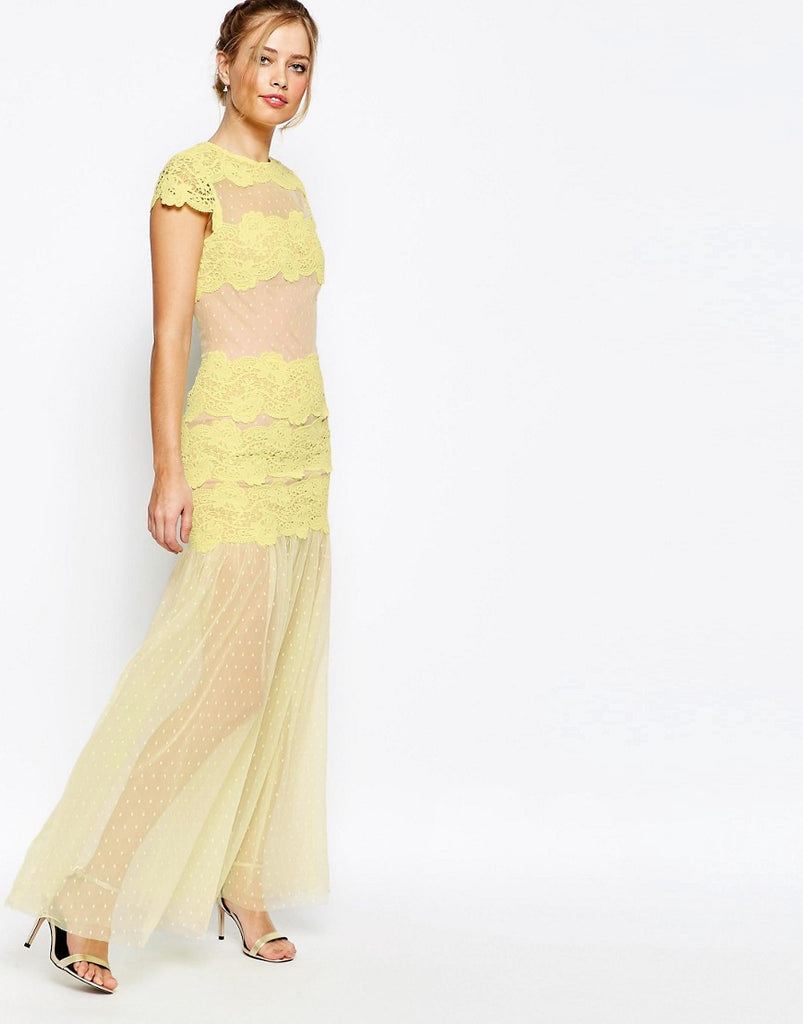 Jarlo Sheer Maxi Dress With Lace Panels - Yellow