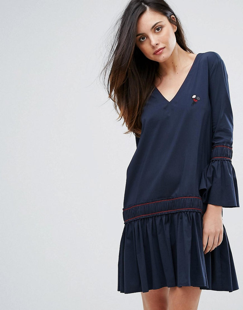 Ganni Norwich A Line Dropped Hem Dress - Total eclipse
