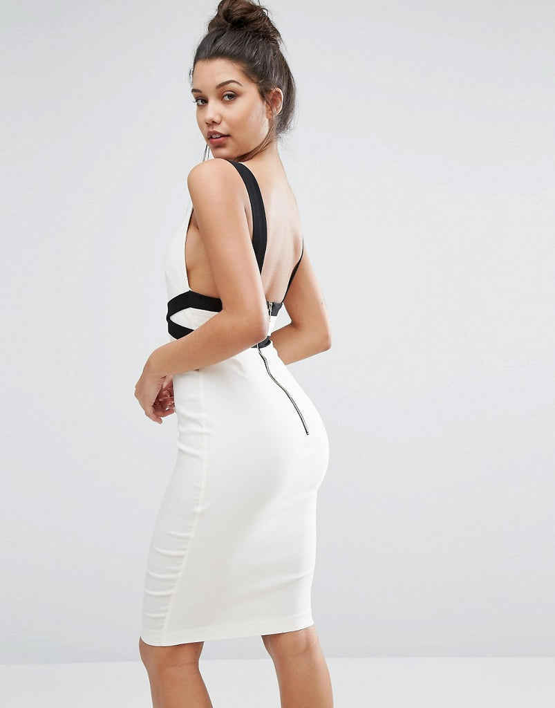 Vesper Sexy Contrast Pencil Dress With Low Back - Cream/black
