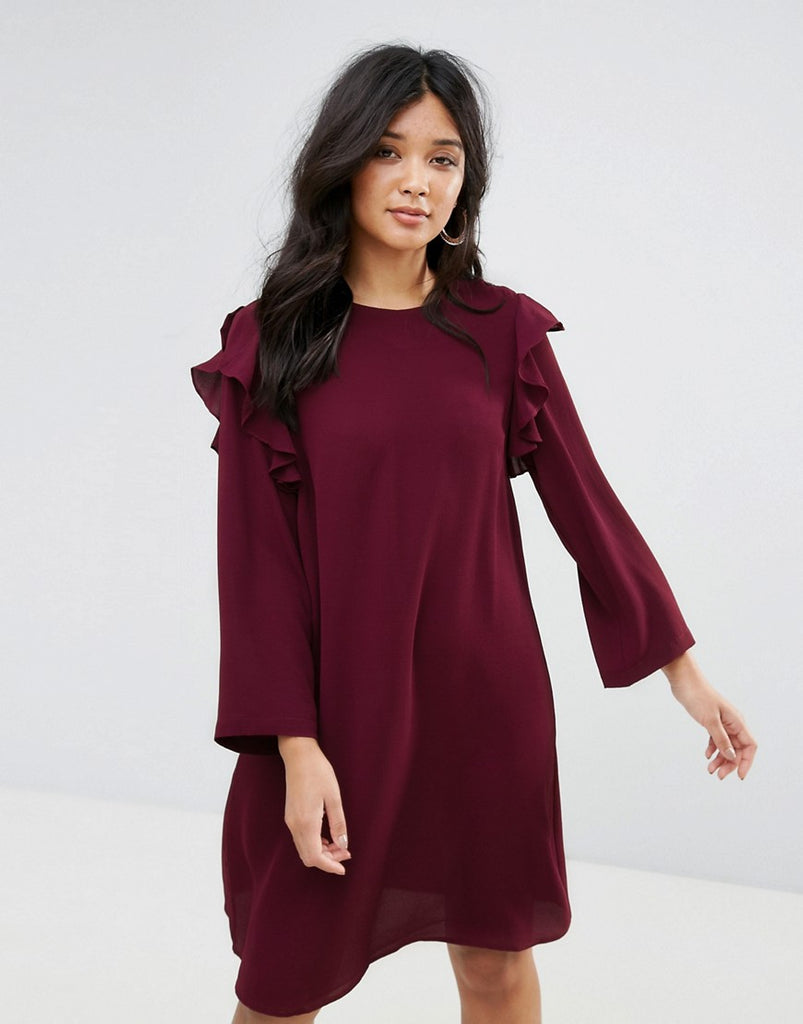 Y.A.S Lullu Ruffle Flared Sleeve Shift Dress - Decadent chocolate