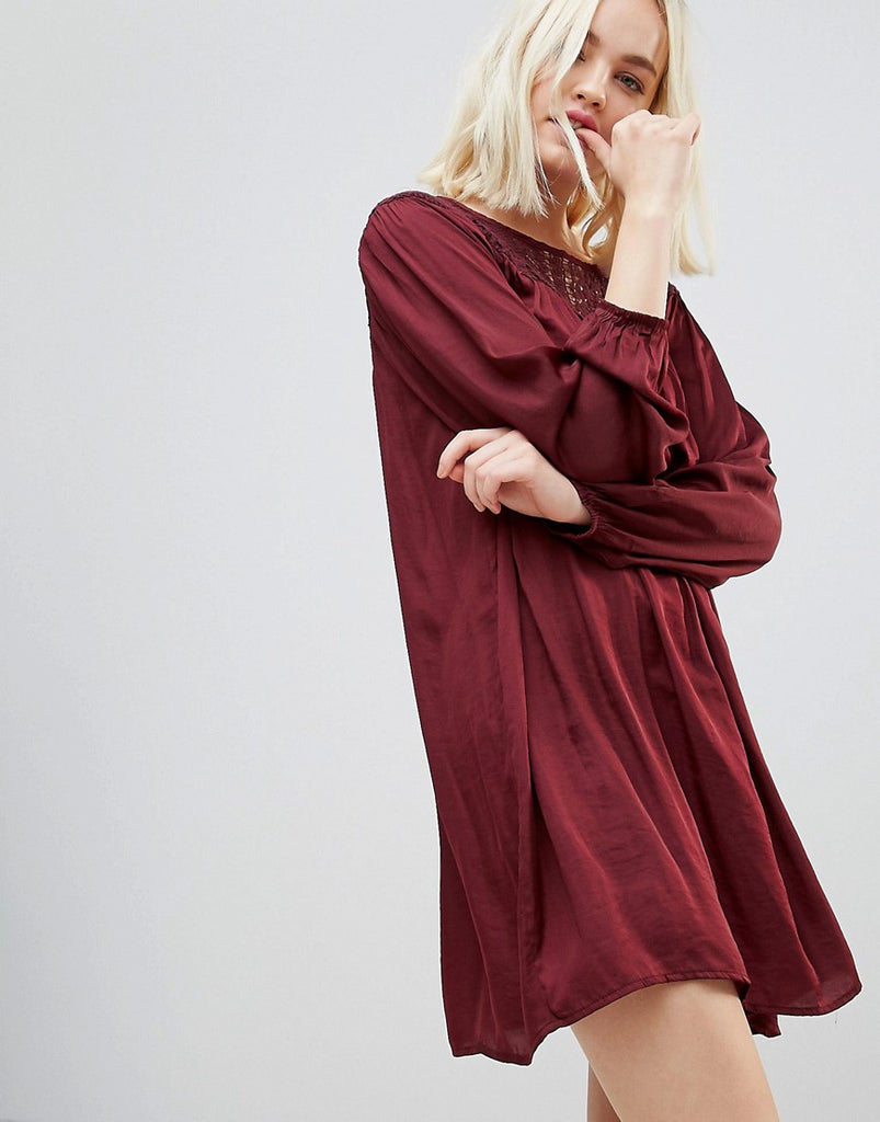 Hazel Long Sleeved Lace Yolk Shift Dress - Wine