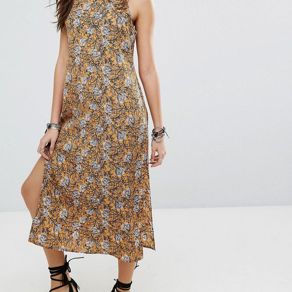 Lira Floral Column Maxi Beach Dress - Mustard