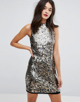 French Connection Moon Rock Sleeveless Sequin Dress - Moonrock
