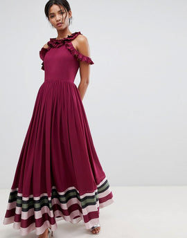 Ted Baker Stepha Maxi Dress in Imperial Stripe - Dp purple