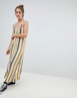 Pull&Bear cami dress in multi stripes - Multi