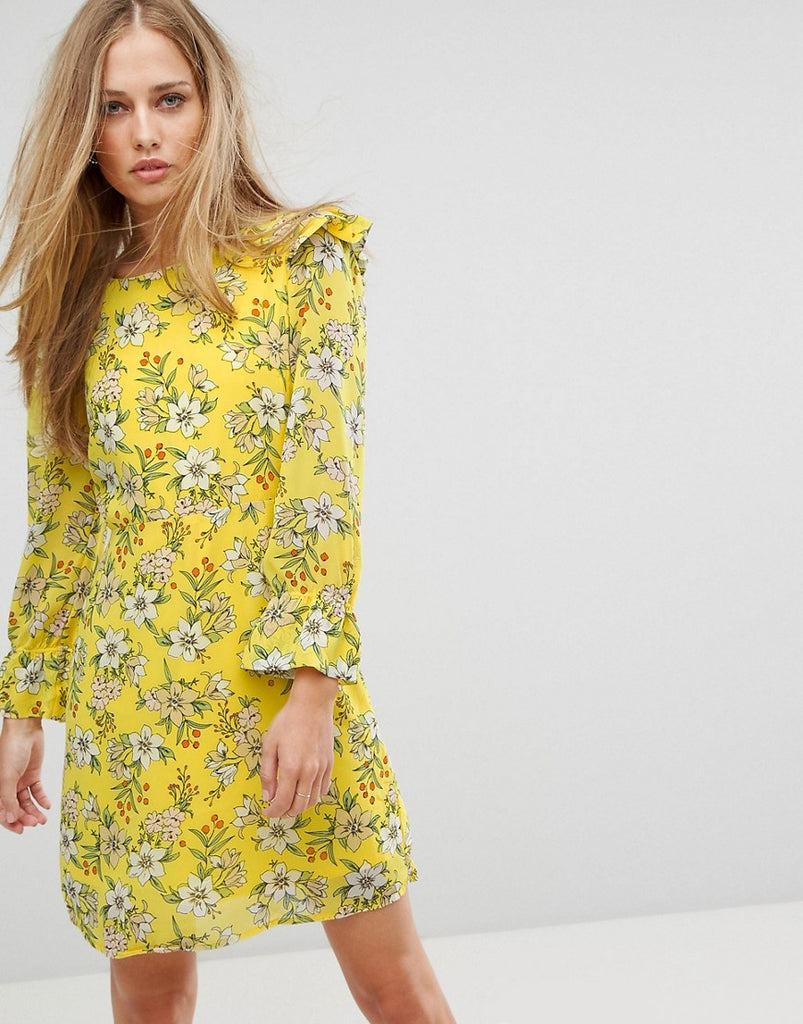 Vero Moda Floral Shift Dress - Yellow print