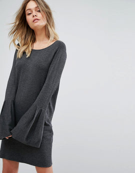 Vero Moda Bell Sleeve Knitted Jumper Dress - Dark grey melange
