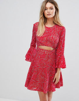 BCBG MAXAZRIA Cut Out Lace Dress - Red