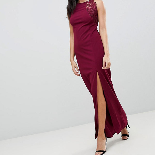 AX Paris Slinky Maxi Dress With Side Slit - Plum