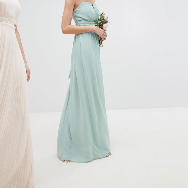 TFNC Bandeau Maxi Bridesmaid Dress - Green lily