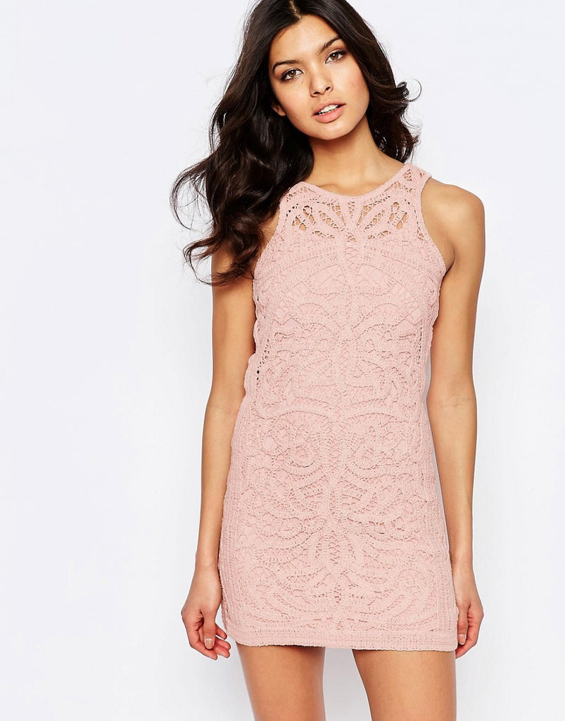 Foxiedox Monticello Lace Mini Dress - Pink