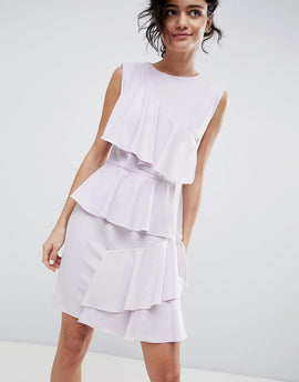 2NDDAY Tiered Ruffle Dress - Lavender fog