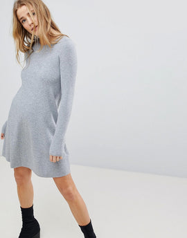 Bershka Knitted Jumper Dress - Grey