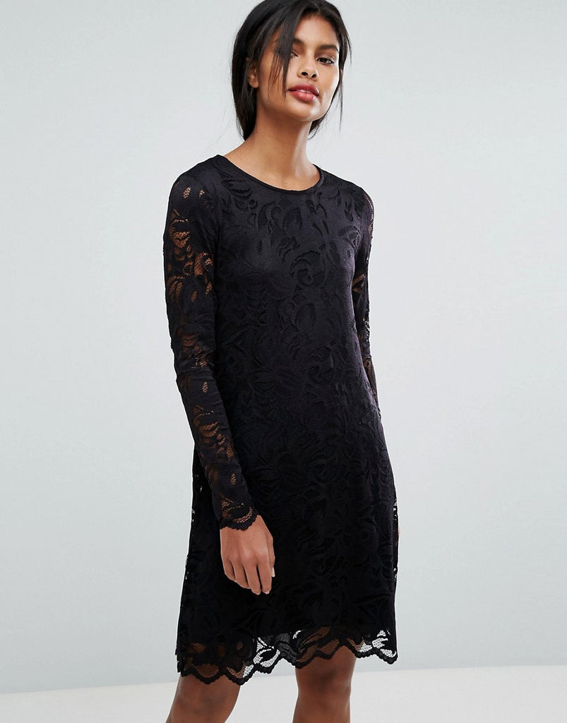 Vila Lace Shift Dress - Black