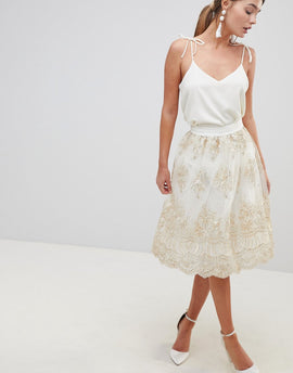 Chi Chi London Midi Skirt In Premium Lace - Cream/gold
