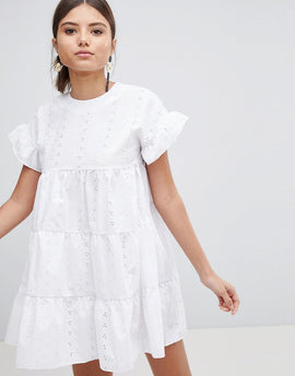PrettyLittleThing Broderie Smock Dress - White