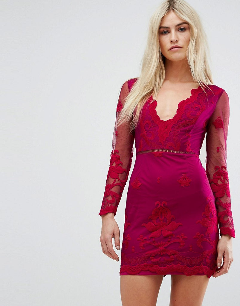 Love Triangle Long Sleeve Embroidred Mesh Mini Dress With Plunge Neck - Berry